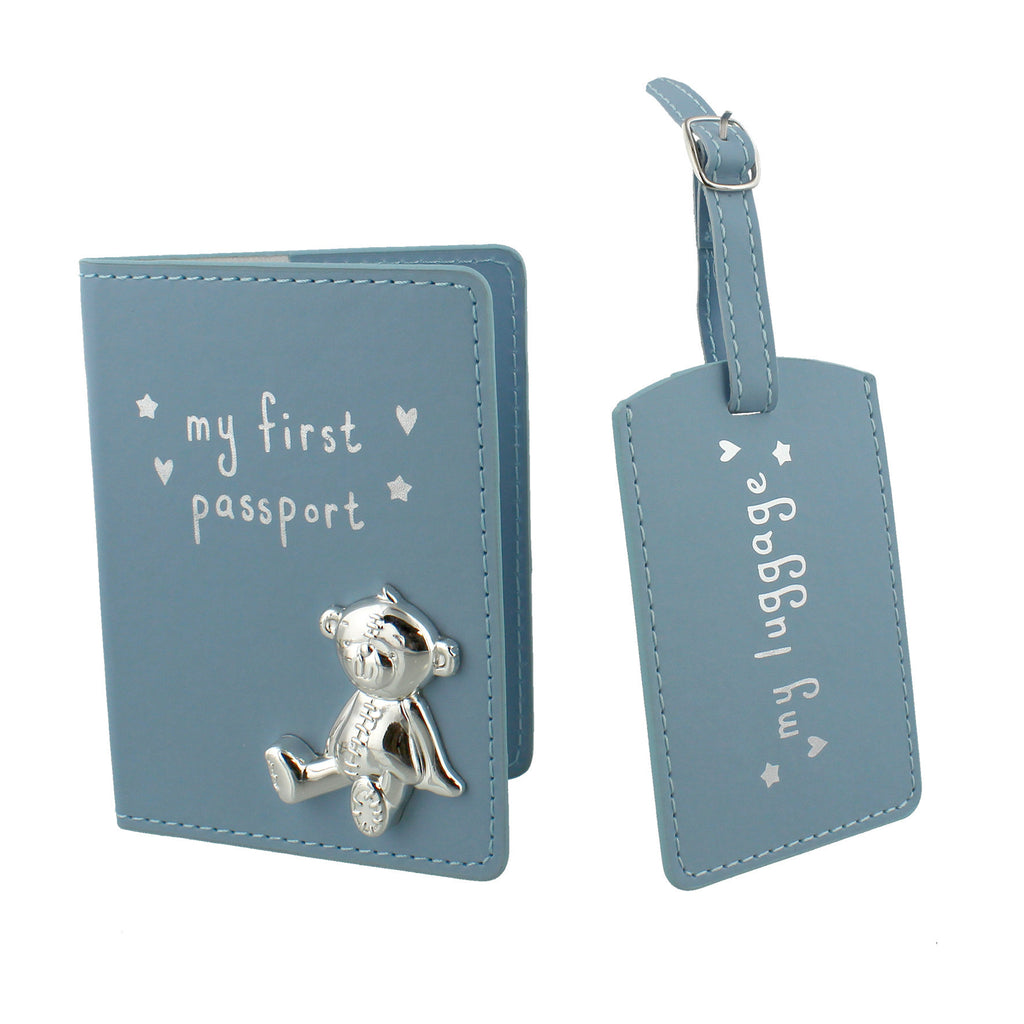 Button Corner My First Passport & Luggage Tag - Blue
