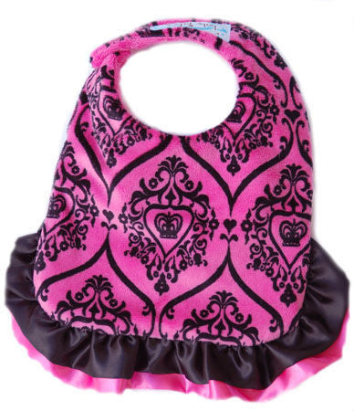 Baby Jake's reversible hot pink & black ruffled bib