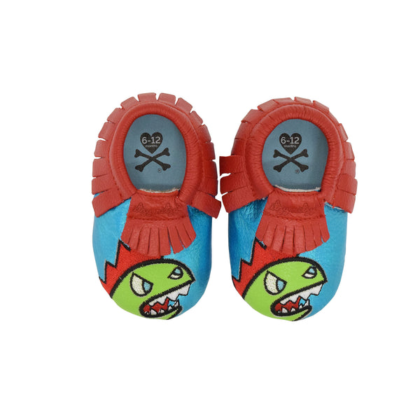 "Itzy Ritzy x Tokidoki Moc Happens leather baby moccasins Kaiju 12 - 18 Month 4.75"" / 12 cm"