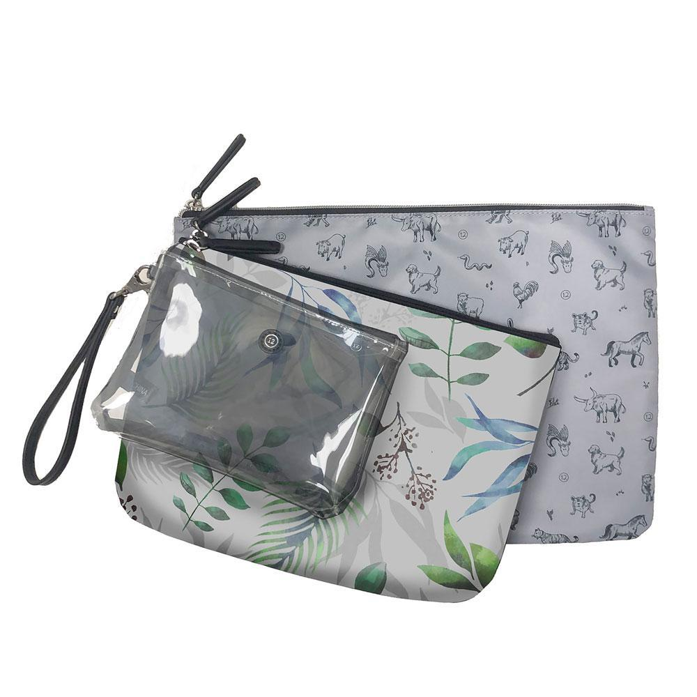 TWELVElittle Trio Pouch in Leaf Print