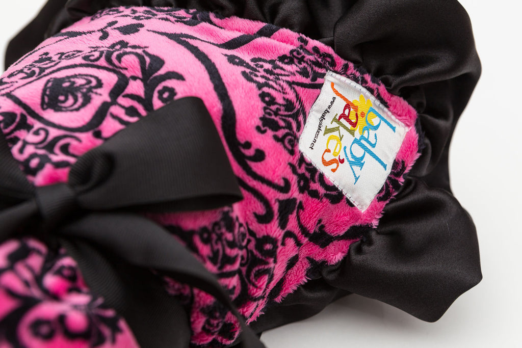 Baby Jake's Ruffled Crown blanket - hot pink & black