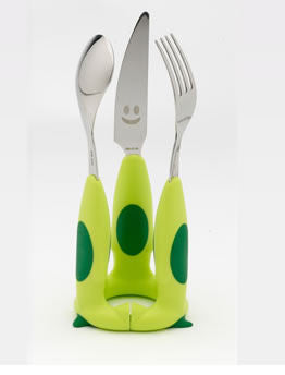 Rivadossi Puppy Children's Cutlery 3 Piece Set - Green