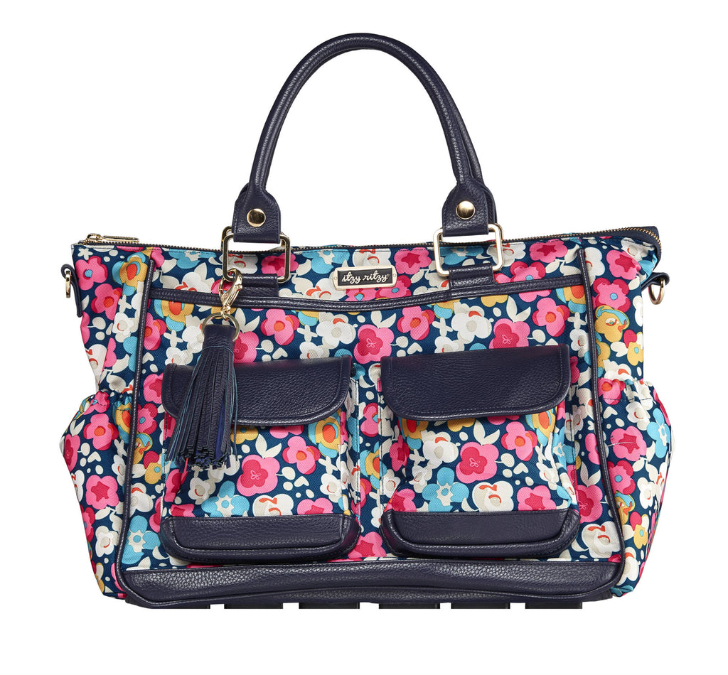 Itzy Ritzy Triple Threat Convertible Diaper Bag in Posy Pop