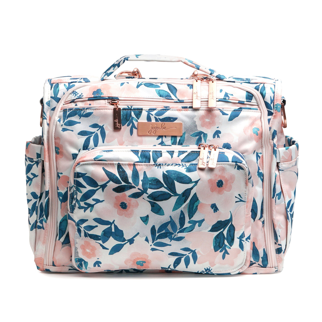 Ju-Ju-Be Rose Gold B.F.F. changing bag in Whimsical Watercolor with Pink Lining