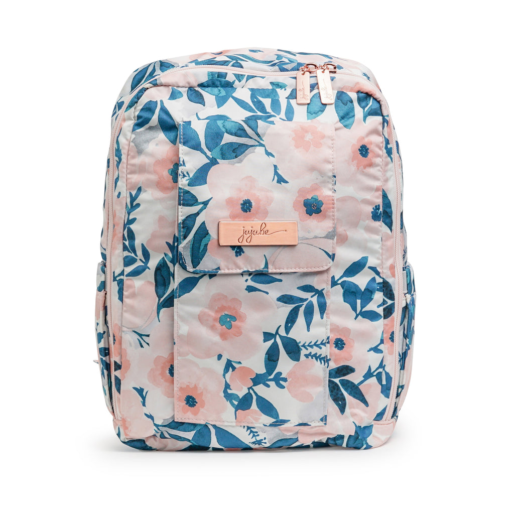 Ju-Ju-Be Rose Gold Mini Be backpack in Whimsical Watercolor with Pink Lining