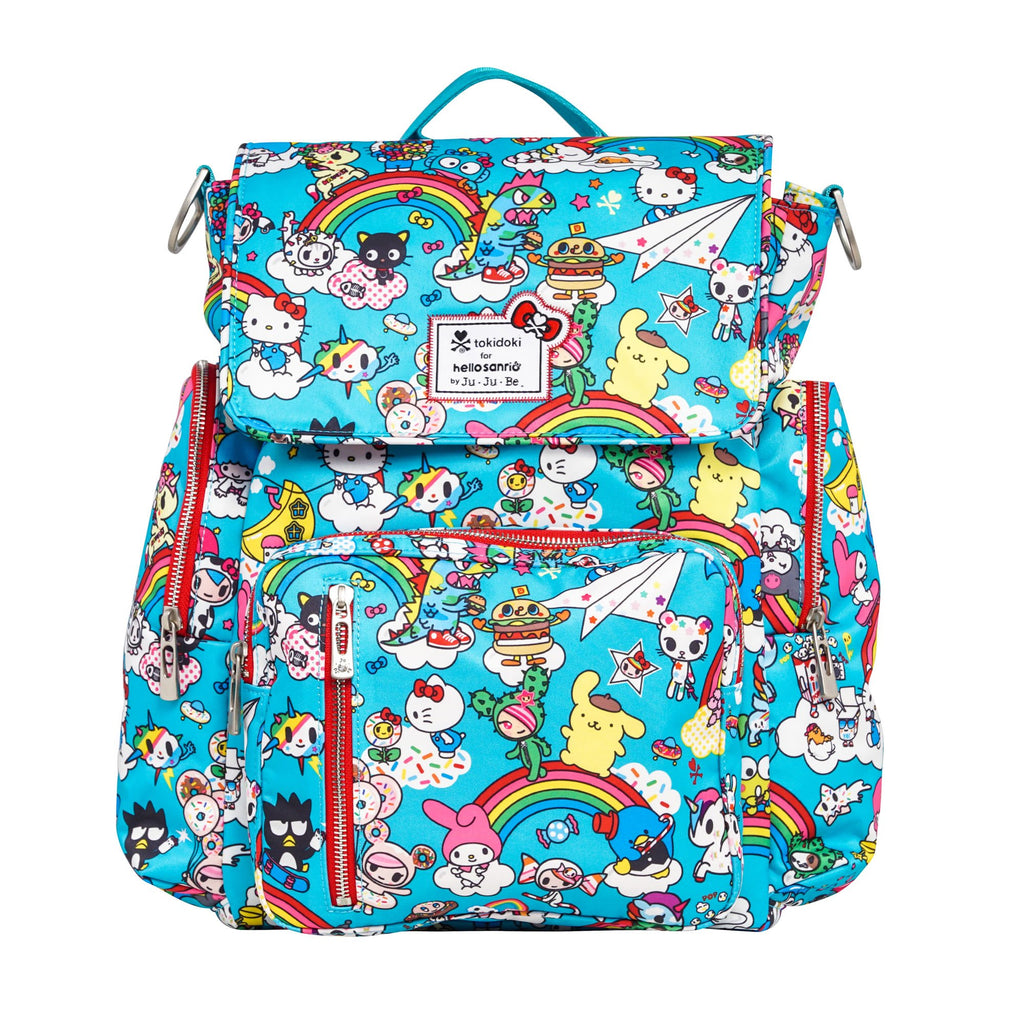 tokidoki for Hello Sanrio by Ju-Ju-Be Be Sporty diaper backpack in Rainbow Dreams