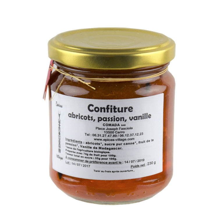 Epices Village Confiture Abricots Passion Vanille 230g
