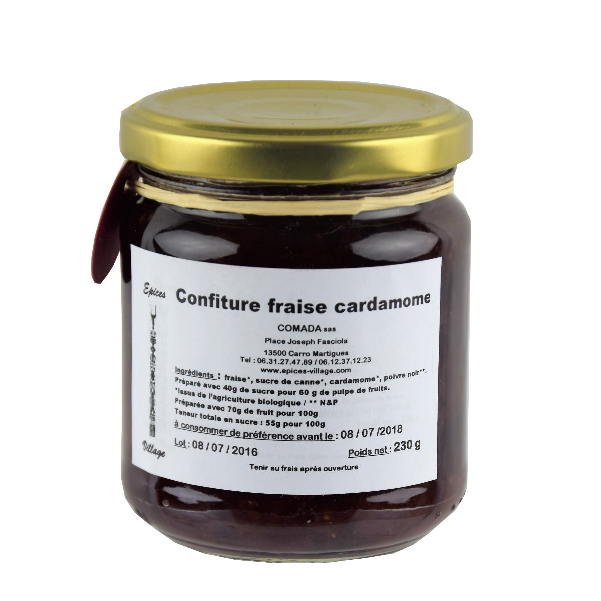Epices Village Confiture Fraise Cardamone 230g