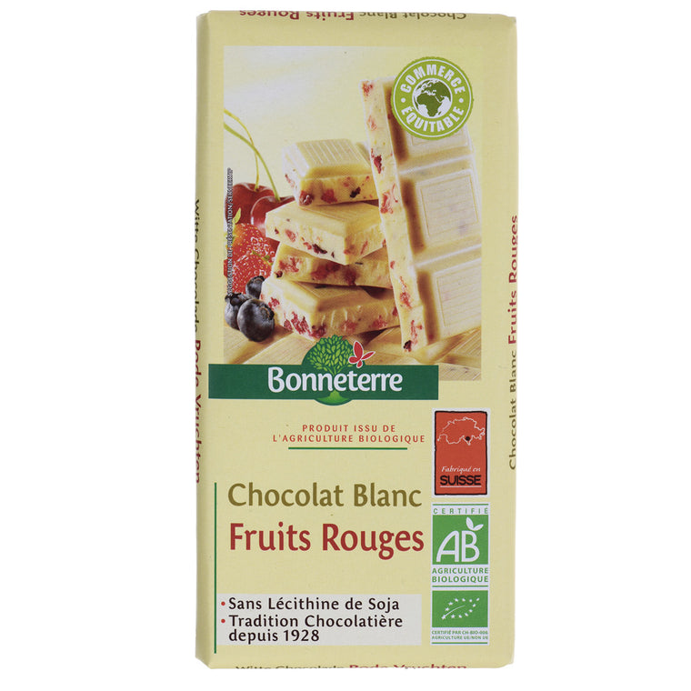 Bonneterre Chocolat Blanc Fruits Rouges Bio 100g