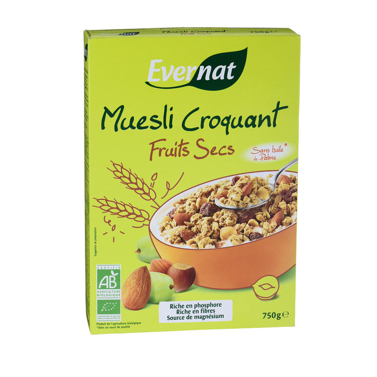Evernat Muesli croquant fruits secs Bio 750g