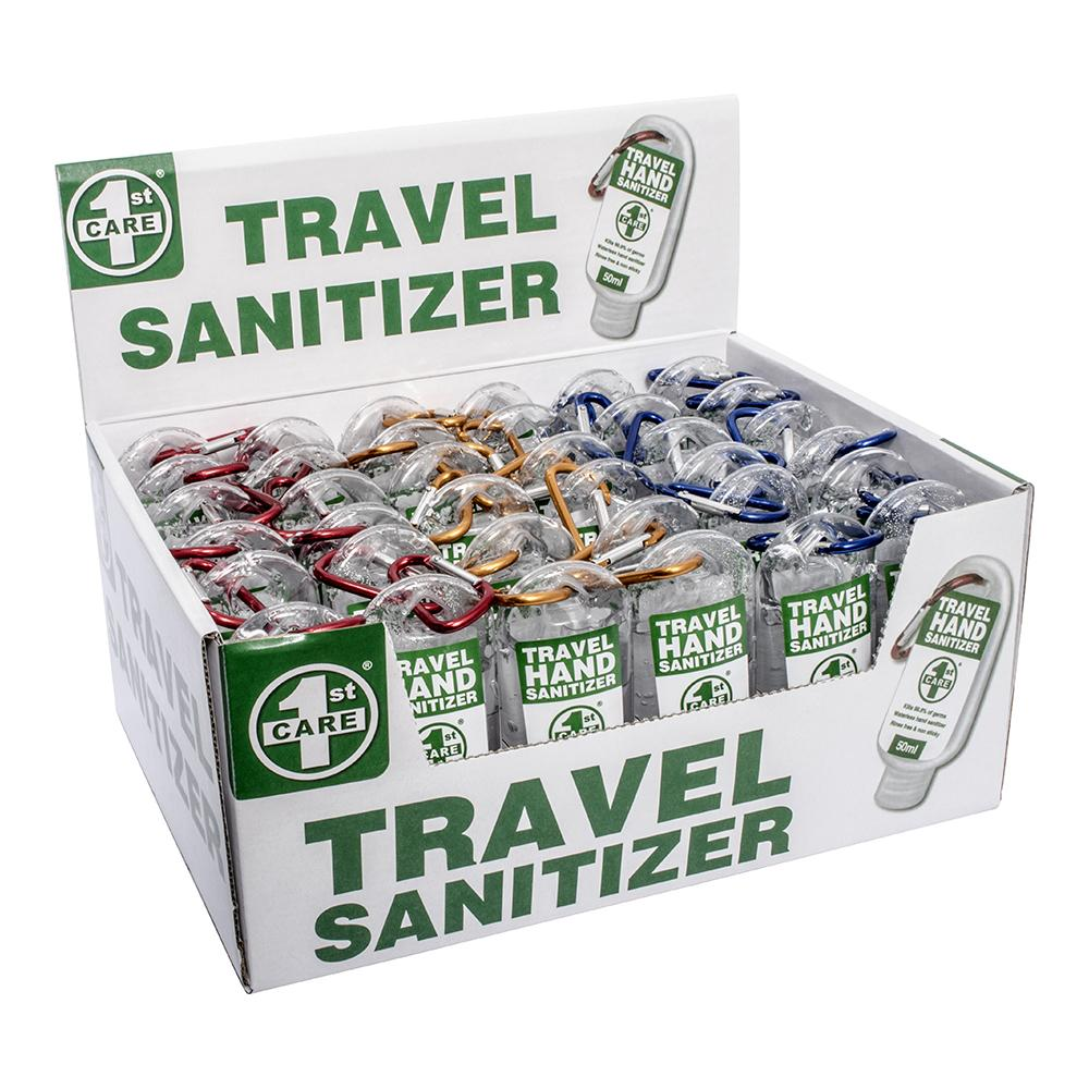 36PCE 1st Care 50ml Travel Pack Hand Sanitizers w Carabiner