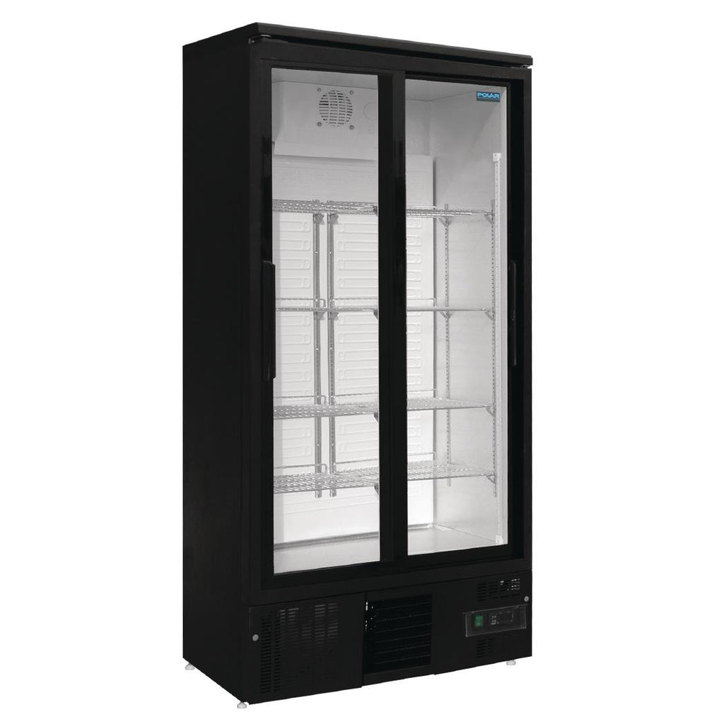 Polar Upright Back Bar Cooler 2 Door Sliding Doors