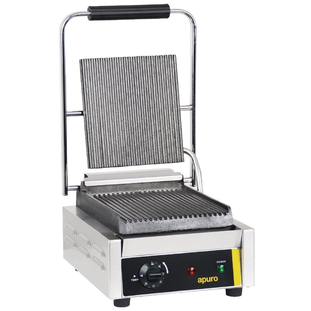 Apuro Bistro Single Contact Grill Ribbed Plates