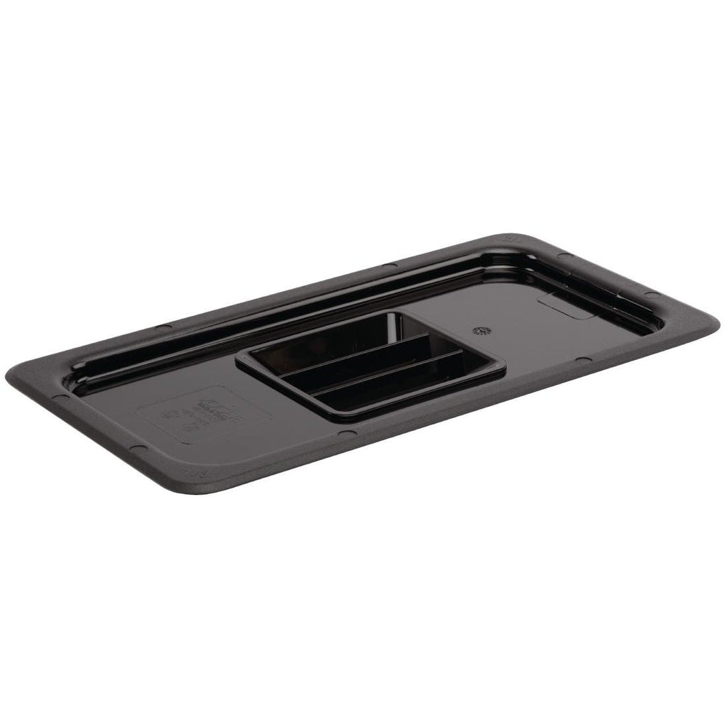 Vogue Polycarbonate 1/3 Gastronorm Black Container Lid