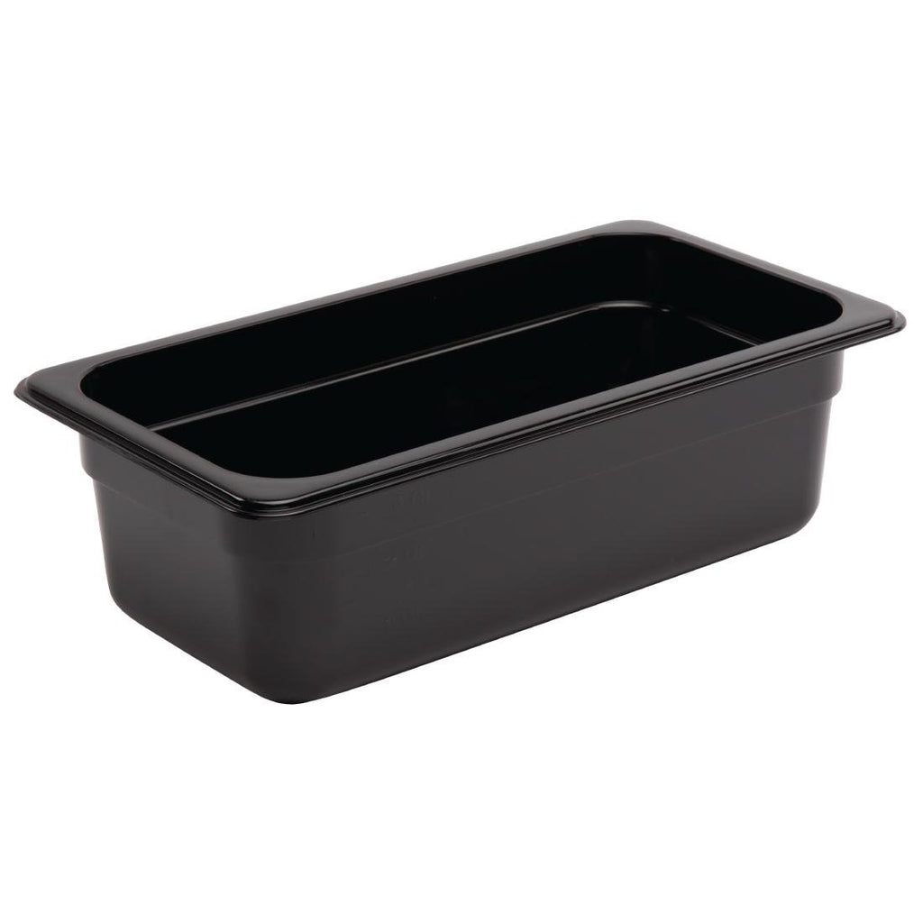 Vogue Black Polycarbonate 1/3 Gastronorm Container 100mm