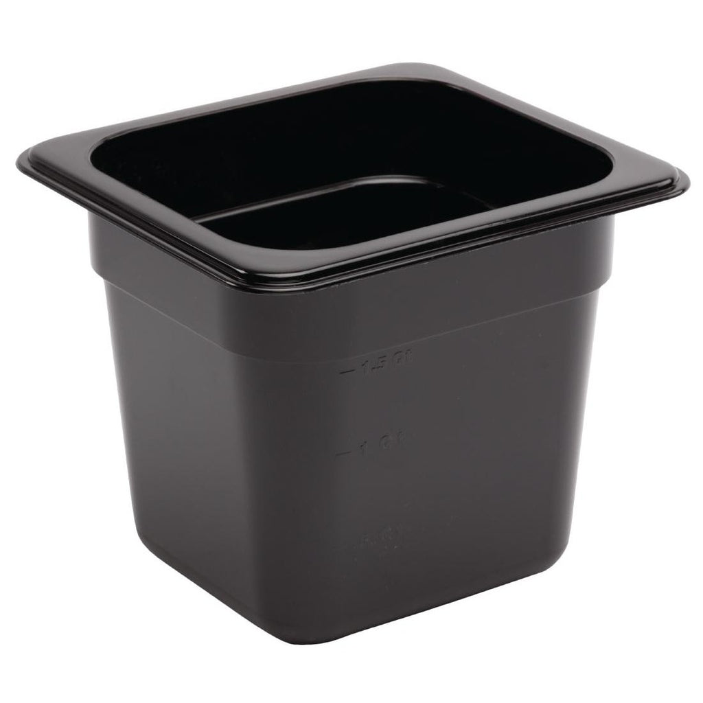 Vogue Black Polycarbonate 1/6 Gastronorm Container 150mm