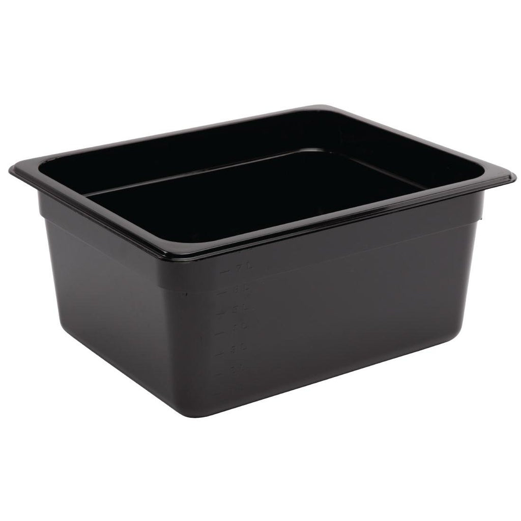 Vogue Black Polycarbonate 1/2 Gastronorm Container 150mm - ICE Group