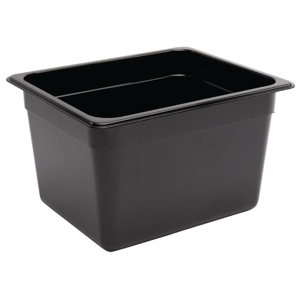 Vogue Black Polycarbonate 1/2 Gastronorm Container 200mm