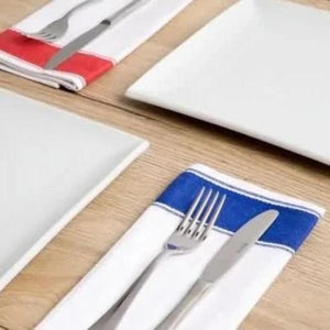 10PCE Olympia Gastro Napkins with Red Border