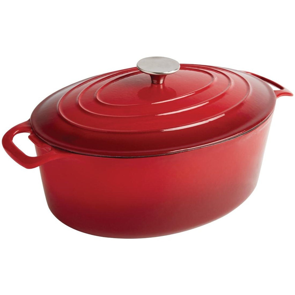 Vogue 5L Red Oval Casserole Dish