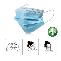 100PCE 1st Care 3 Ply Protective Disposable Face Masks