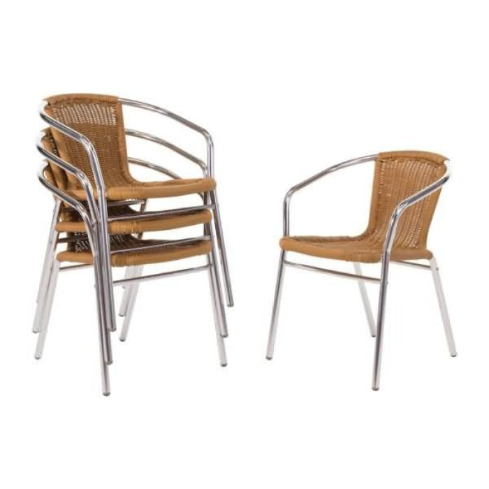 4PCE Bolero Aluminium and Natural Wicker Chair - ICE Group Hospitality Warehouse