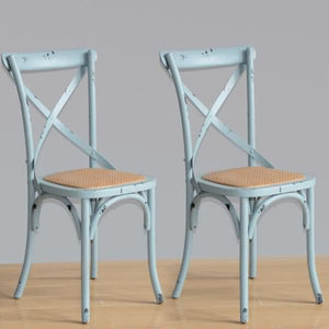 2PCE Bolero Blue Wooden Dining Chairs with Backrest