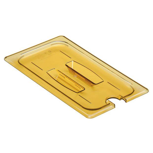 Cambro GN 1/3 High Temp Cover W/Notched Handle - Amber 30HPCHN150