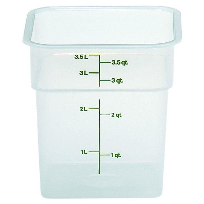 6PCE Cambro Square Polypropylene Container 3.8L Translucent 4SFSPP
