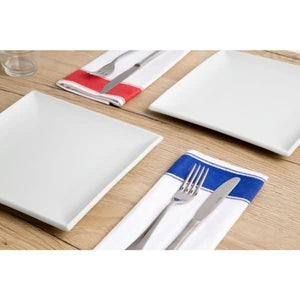 10PCE Olympia Gastro Napkins with Blue Border