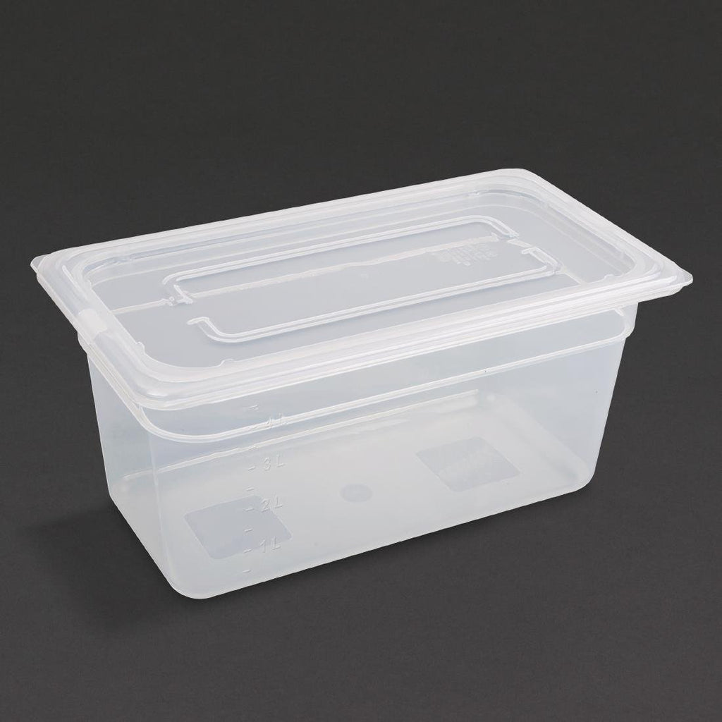 Vogue 4PCE Polypropylene Gastronorm Pan 1/3 with Lid 150mm