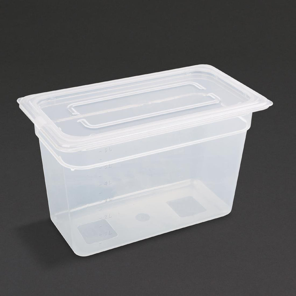 Vogue 4PCE Polypropylene Gastronorm Pan 1/3 with Lid 200mm