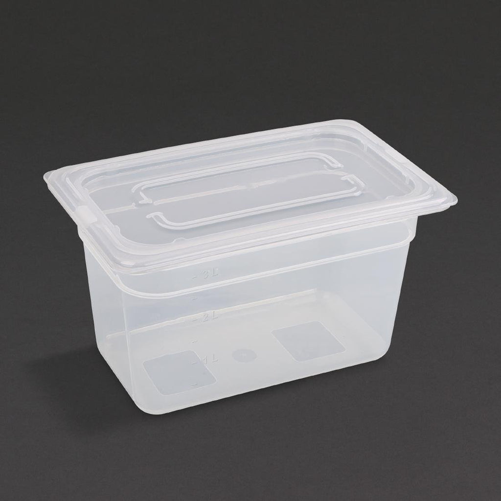 Vogue Polypropylene Gastronorm Pan 1/4 with Lid 150mm