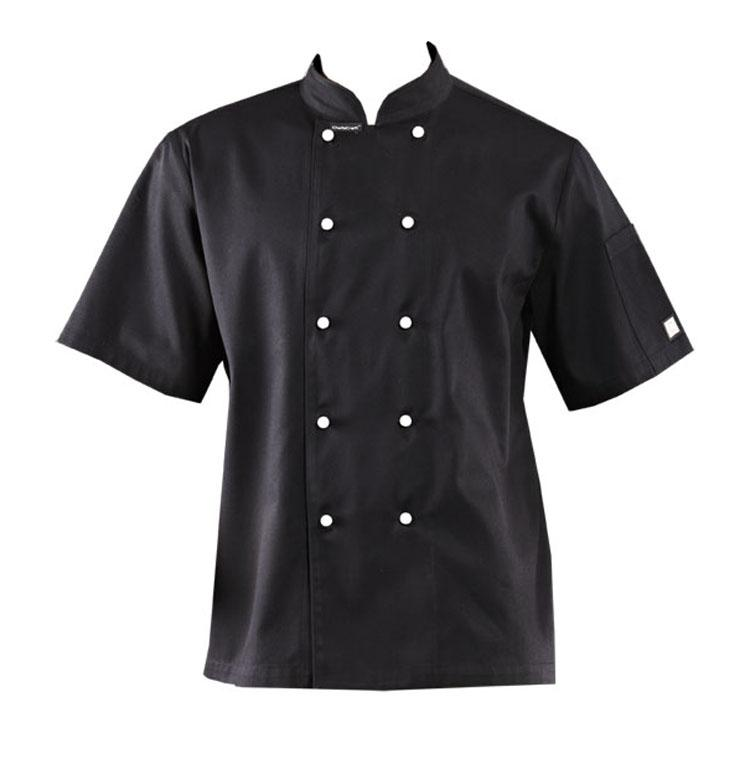 Chefscraft XS Classic Chef Jacket S/S Black CJ033