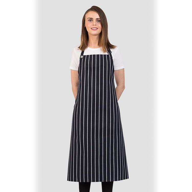Aussie Chef Cafe Series London Woven Apron Navy/White 10810