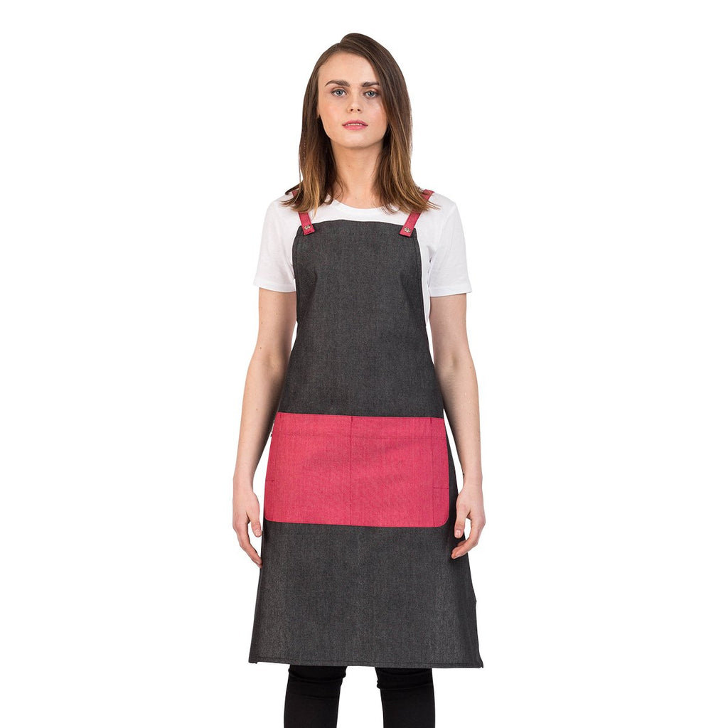 Aussie Chef Cafe Series Grey-Cherry Bib Apron PROEGREY13
