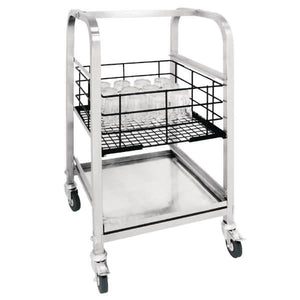 Vogue 3 Tier Glass Racking Trolley for 425mm Baskets