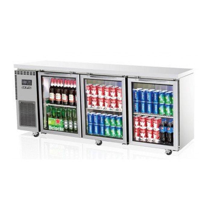Skipio 3 Glass Doors Underbench Fridge SGR18-3