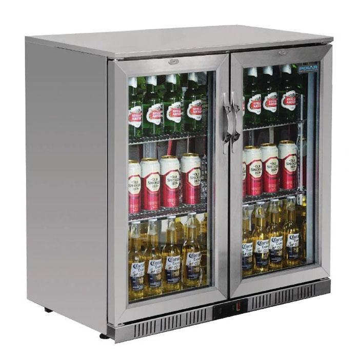 Polar 208L G-Series Back Bar Cooler with Hinged Doors Stainless Steel