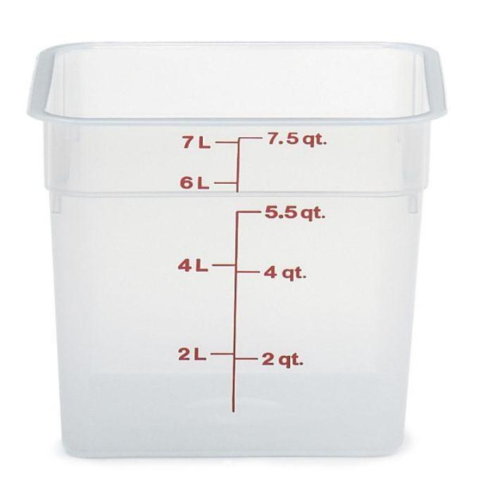 6PCE CAMBRO Camwear Storage Container 7.6L - Translucent 8SFSPP190 - ICE Group