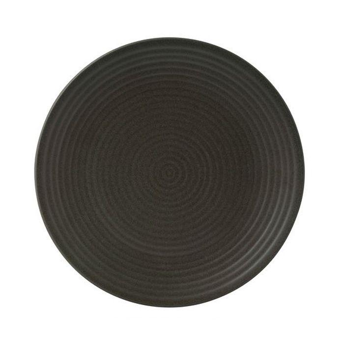 6PCE ZUMA Charcoal Round Coupe Plate Ribbed