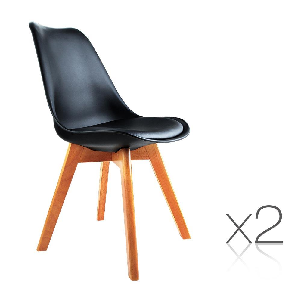 2PCE Artiss Dining Chair PU Leather Seat Black