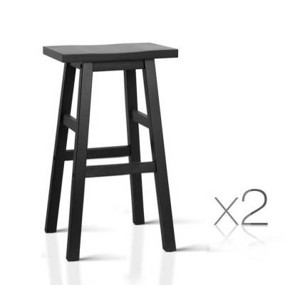 2PCE Artiss Backless Bar Stools Black