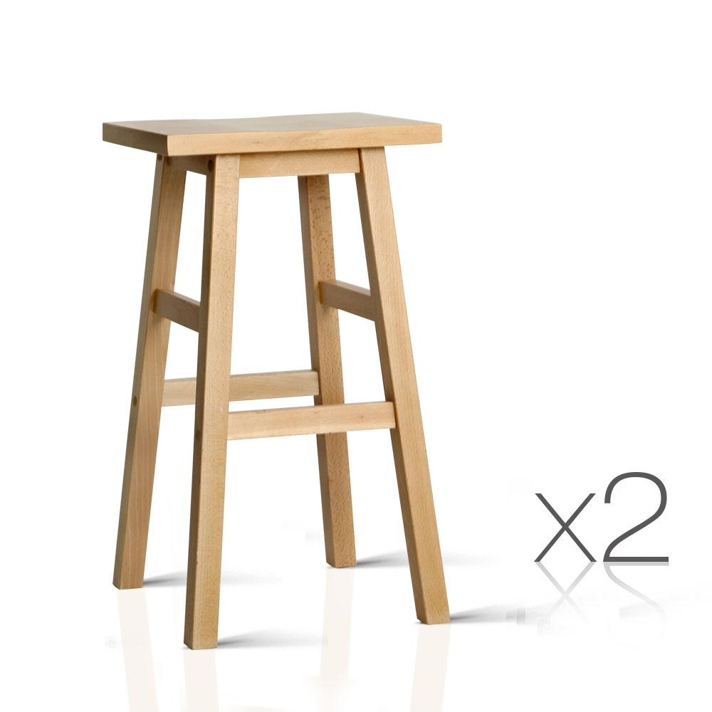 2PCE Artiss Backless Bar Stools Natural