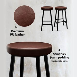 2PCE Artiss Vintage Bar Stools Brown Leather