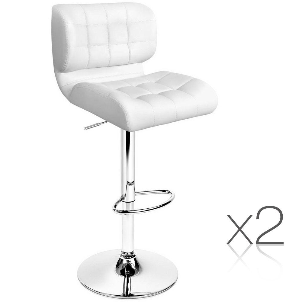 2PCE Artiss PU Leather Gas Lift Bar Stools White