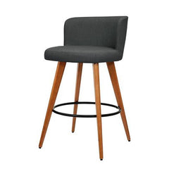 2PCE Artiss Wooden Bar Stools Charcoal Fabric