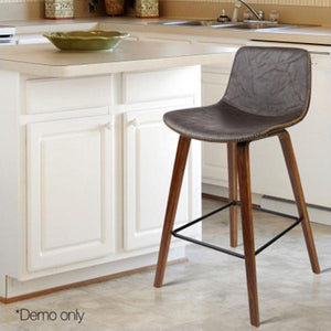 2PCE Wooden and Leather Bar Stool Walnut - ICE Group