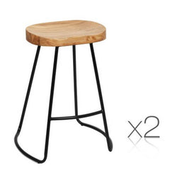 2PCE Artiss Wooden Backless Bar Stools Natural - ICE Group