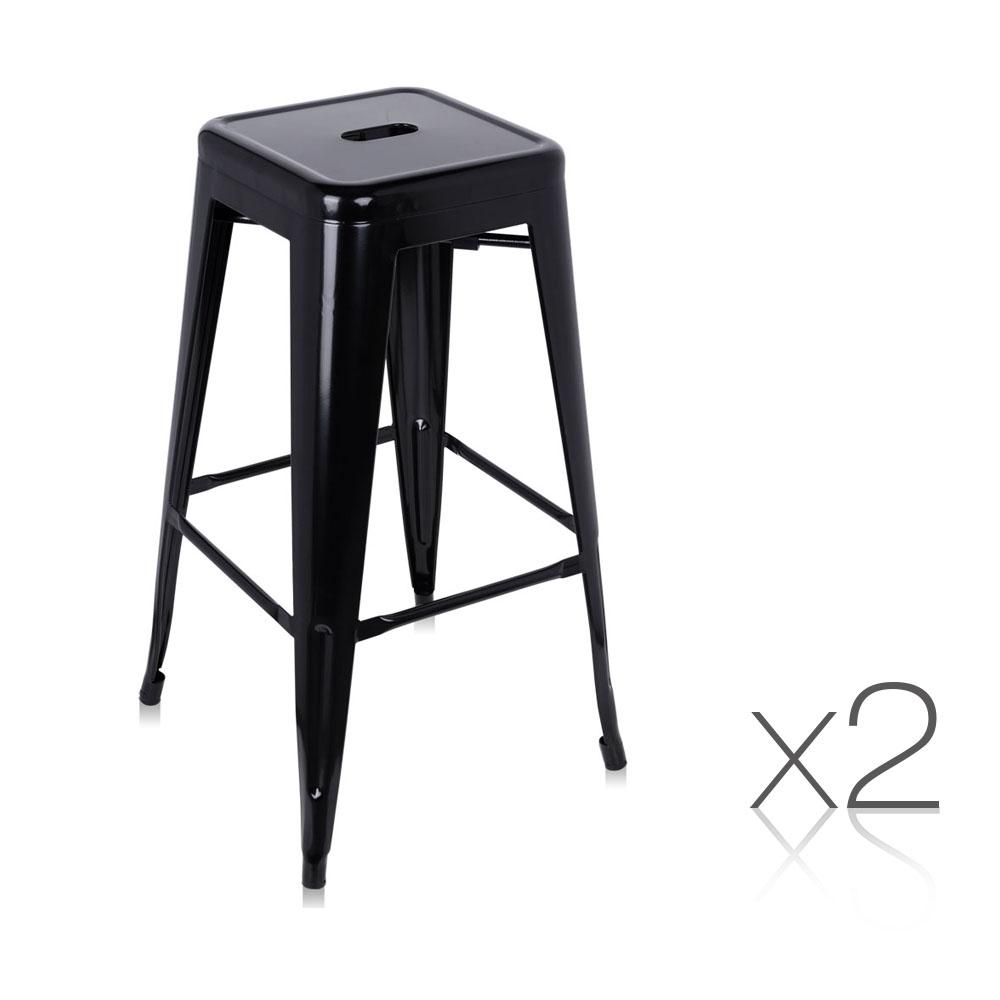 2PCE Artiss Metal Backless Stools 76cm Black